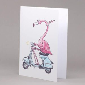 Flamingo on Scooter card
