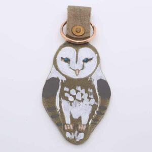 Handpainted Owl Leather Keyring