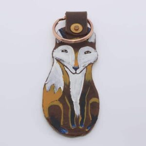 Handpainted Fox Leather Keyring