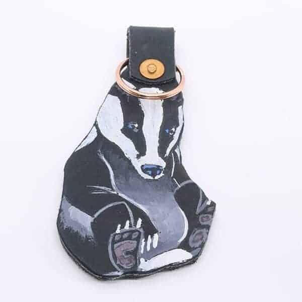 Handpainted Badger Leather Keyring