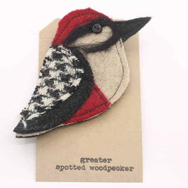 Katfish Greater Spotted Woodpecker Brooch