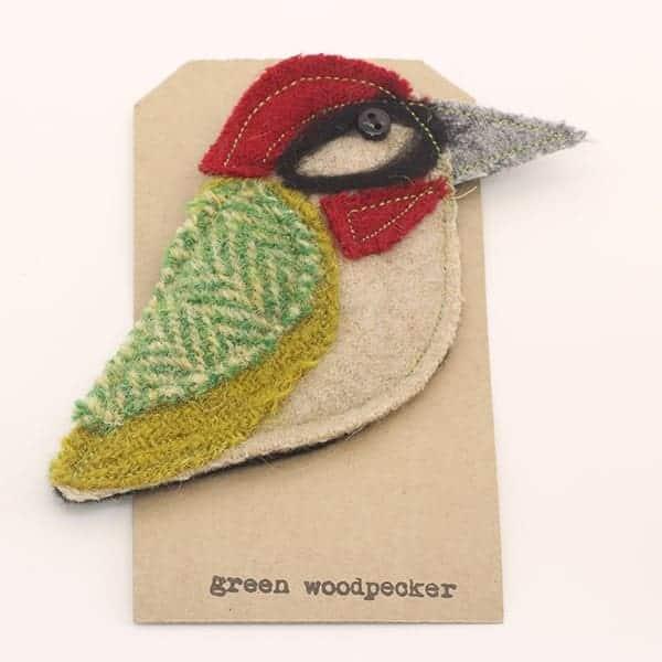 Katfish Green Woodpecker Brooch