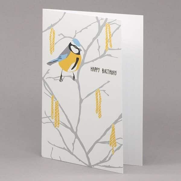 Blue Tit and Catkin 'Happy Birthday' card
