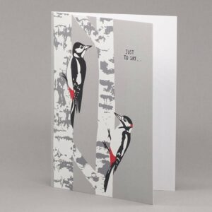 Woodpecker and Silver Birch card