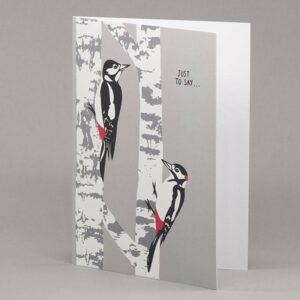 Woodpecker and Silver Birch card