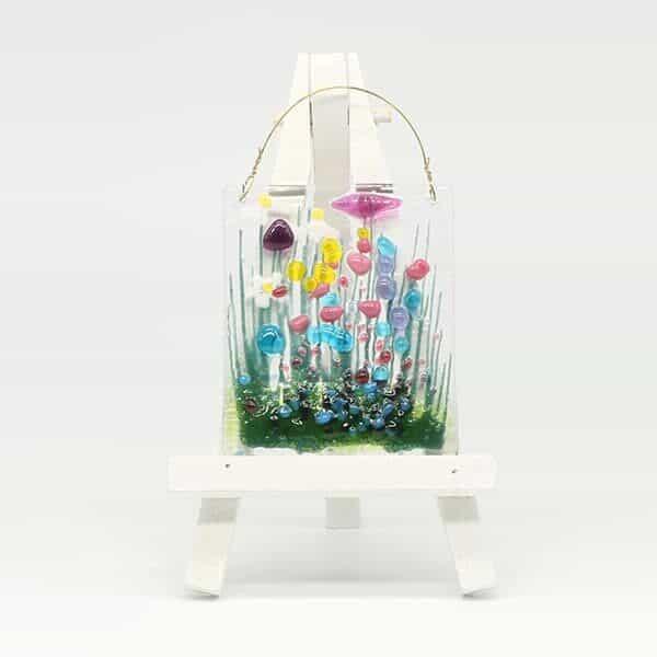 Glass Wildflower hanging token