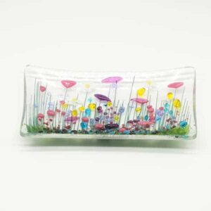 Glass Wildflower trinket dish