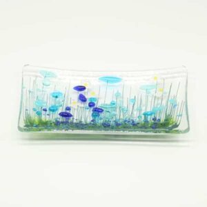 Glass Cornflower trinket dish
