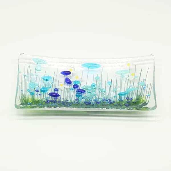 Glass Cornflower trinket dish